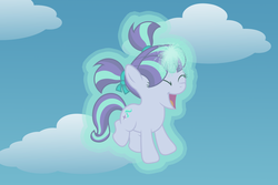 Size: 6000x4000 | Tagged: safe, artist:spottedlions, starlight glimmer, pony, unicorn, absurd resolution, cute, female, filly, filly starlight glimmer, glimmerbetes, glowing horn, happy, horn, levitation, magic, self-levitation, solo, telekinesis, younger