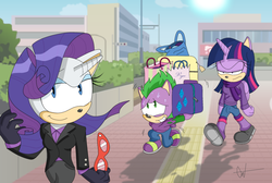 Size: 2306x1548 | Tagged: dead source, safe, artist:atomiclance, rarity, spike, twilight sparkle, alicorn, anthro, plantigrade anthro, :t, bag, carrying, frown, glare, grin, lidded eyes, shopping, smiling, smirk, sonic the hedgehog (series), sonicified, species swap, style emulation, sweat, trembling, twilight sparkle (alicorn), unamused