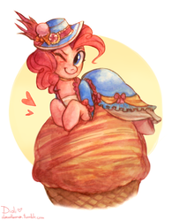 Size: 1280x1643   Tagged: safe, artist:cloudlama, pinkie pie, earth pony, pony, clothes, costume, dress, female, food, hat, ice cream, mare, one eye closed, solo, wink