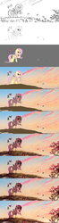 Size: 1179x4481 | Tagged: safe, artist:ruhje, fluttershy, bird, butterfly, absurd resolution, female, hill, monochrome, progress, raised hoof, scenery, sketch, smiling, solo, spring, tree, wip