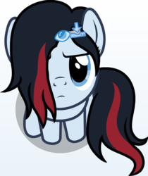 Size: 1138x1356 | Tagged: safe, artist:badumsquish, derpibooru exclusive, oc, oc only, oc:download, earth pony, pony, derpibooru, >:c, badumsquish's kitties, derpibooru ponified, female, frown, looking at you, looking up, meta, part of a set, ponified, sitting, solo