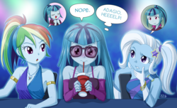 Size: 1315x800 | Tagged: safe, artist:uotapo, edit, rainbow dash, sonata dusk, trixie, equestria girls, rainbow rocks, :o, alternate hairstyle, blue, blushing, bracelet, clothes, cropped, cup, cute, dashabetes, diatrixes, disguise, dress, evening gloves, female, frown, glasses, gloves, jewelry, long gloves, loose hair, nervous, open mouth, ponytail, raised eyebrow, sonatabetes, starenata, stars, straw, sunglasses, sweat, uotapo is trying to murder us