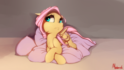 Size: 1920x1080 | Tagged: safe, artist:miokomata, fluttershy, pegasus, pony, crossed hooves, cute, cute little fangs, fangs, female, looking away, pillow, prone, shyabetes, signature, solo