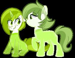 Size: 1600x1241   Tagged: safe, artist:slasharu, oc, oc only, oc:citrus, oc:shamrock, drink pony, original species, pony, female, mare, simple background, transparent background