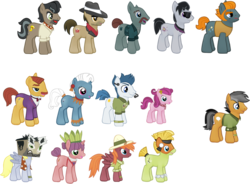 Size: 819x603 | Tagged: safe, biff, carrot bun, derpy hooves, doctor caballeron, heart pacer, love sketch, pickpocket, quibble pants, rogue (character), strawberry parchment, sweet pepper, withers, earth pony, pegasus, pony, unicorn, cardboard box, clothes, cosplay, costume, doctor cardboarderon, fake cutie mark, gameloft, henchmen, lazy fan, scarf, sheet, unnamed pony