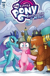 Size: 1054x1600 | Tagged: safe, artist:agnesgarbowska, pinkie pie, prince rutherford, princess ember, dragon, earth pony, pony, yak, idw, spoiler:comic, spoiler:comic55, advertisement, cloven hooves, comic cover, female, idw advertisement, male, this will end in war, xk-class end-of-the-world scenario