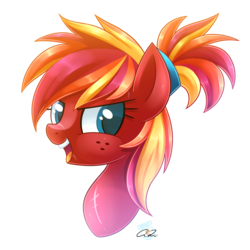 Size: 1600x1600 | Tagged: artist:iheartjapan789, bust, female, mare, oc, oc:fire strike, oc only, open mouth, pony, portrait, safe, simple background, solo, transparent background