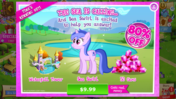 Size: 1136x640 | Tagged: costs real money, crack is cheaper, gameloft, pony, safe, seafoam, sea swirl, time's running out, unicorn