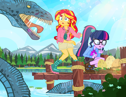 Size: 1000x773 | Tagged: safe, artist:pixelkitties, sci-twi, sunset shimmer, twilight sparkle, sea serpent, equestria girls, alan grant, camp everfree, clothes, cryptid, cryptozoology, dinosaur egg, egg, ellie sattler, glasses, jurassic park, lake, loch ness monster, monster, nessie, nest, ponytail, sea monster, shorts, smiling, water