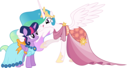 Size: 11957x6400 | Tagged: safe, artist:parclytaxel, princess celestia, twilight sparkle, alicorn, pony, make new friends but keep discord, .svg available, absurd resolution, clothes, dress, gala dress, raised hoof, simple background, transparent background, twilight sparkle (alicorn), vector, wing hands