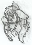 Size: 421x584 | Tagged: safe, artist:thexiiilightning, oc, oc only, oc:azalea floria, pony, ear piercing, earring, female, jewelry, pencil drawing, piercing, reins, sketch, solo, traditional art