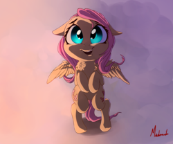 Size: 1300x1080 | Tagged: safe, artist:miokomata, fluttershy, pony, both cutie marks, cute, fangs, female, filly, floppy ears, hnnng, looking at you, open mouth, shyabetes, smiling, solo, younger