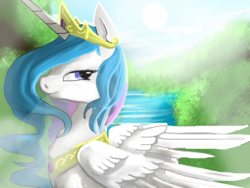 Size: 1600x1200 | Tagged: safe, artist:nutty-stardragon, princess celestia, alicorn, pony, crepuscular rays, crown, cute, female, fluffy, jewelry, lens flare, lidded eyes, looking at you, peytral, regalia, smiling, solo, sun, water