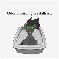 Size: 1050x1044 | Tagged: artist:planetkiller, behaving like a cat, chest fluff, king sombra, litterbox, litter ponies, looking down, part of a set, pony, safe, simple background, sitting, solo, text, toilet humor, unicorn
