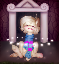 Size: 2891x3107 | Tagged: safe, artist:pony-ellie-stuart, earth pony, pony, clothes, commission, crossover, eyes closed, friendliness pellets, frisk, implied flowey the flower, ponified, scared, sitting, solo, underhoof, undertale, ych result