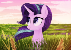 Size: 1491x1055 | Tagged: safe, artist:sonnatora, starlight glimmer, pony, unicorn, cloud, cute, female, field, food, glimmerbetes, grass, lidded eyes, looking up, mare, river, scenery, scenery porn, sitting, sky, smiling, solo, wheat, windswept mane