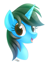 Size: 1200x1600 | Tagged: safe, artist:iheartjapan789, oc, oc only, oc:andrea, pony, unicorn, bust, female, mare, open mouth, portrait, simple background, solo, transparent background