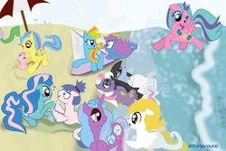 Size: 1024x683   Tagged: safe, artist:herumankahi, oc, oc only, earth pony, pegasus, pony, seapony (g4), unicorn, beach
