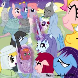Size: 850x850   Tagged: safe, artist:herumankahi, oc, oc only, oc:pearly, oc:tiamat, merpony, pony, sea pony, baby, baby pony, celebration