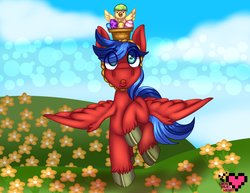 Size: 3850x2975 | Tagged: safe, artist:ladypixelheart, oc, oc only, oc:swift sketch, pegasus, pony, basket, chick, cloud, easter, easter egg, flower, grass, looking up, male, open mouth, raised hoof, sky, solo, spread wings, stallion