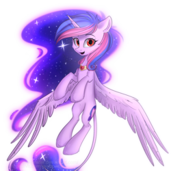 Size: 2000x2000   Tagged: safe, artist:mp-printer, oc, oc only, oc:adelina, alicorn, pony, alicorn oc, art trade, female, flying, galaxy mane, jewelry, looking at you, mare, open mouth, peytral, simple background, smiling, solo, spread wings, transparent background