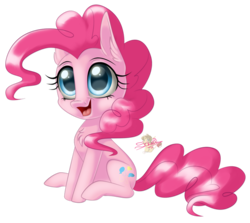 Size: 800x713   Tagged: safe, artist:unisoleil, pinkie pie, pony, chibi, simple background, sitting, smiling, solo, transparent background