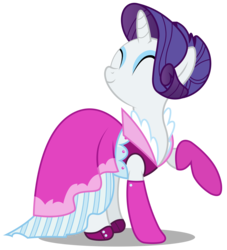 Size: 2722x3000   Tagged: safe, artist:brony-works, rarity, pony, unicorn, alternate hairstyle, clothes, dress, eyes closed, eyeshadow, female, happy, high res, makeup, mare, raised hoof, simple background, smiling, solo, transparent background, vector