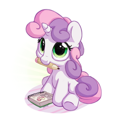 Size: 1200x1200 | Tagged: safe, artist:bobdude0, sweetie belle, pony, unicorn, cute, diasweetes, drawing, female, filly, hnnng, looking up, mouth hold, nom, notebook, pencil, simple background, sitting, smiling, solo, underhoof, weapons-grade cute, white background