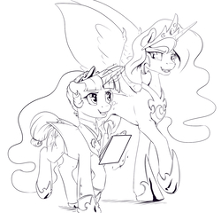 Size: 1280x1229 | Tagged: safe, artist:silfoe, nightmare moon, twilight sparkle, alicorn, pony, unicorn, alternate hairstyle, alternate timeline, alternate universe, clothes, crown, duo, evil, female, glowing, grayscale, jewelry, levitation, lineart, looking at each other, magic, mare, monochrome, night maid twilight, nightmare takeover timeline, open mouth, regalia, simple background, spread wings, tail ring, telekinesis, twimoon, white background