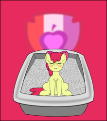 Size: 1065x1208 | Tagged: apple bloom, artist:planetkiller, blushing, chest fluff, cutie mark, eyes closed, litterbox, litter ponies, part of a set, pony, safe, sitting, solo, the cmc's cutie marks, why