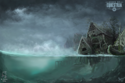 Size: 2000x1333 | Tagged: safe, artist:nemo2d, fallout equestria, ashes of equestria, boat, building, cloud, concept art, overmare studios, ponyville, river, ruins, scenery, signature, underwater, water