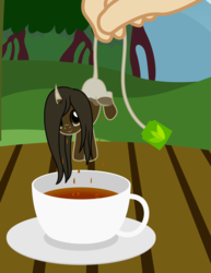 Size: 1921x2488 | Tagged: artist:badumsquish, classical unicorn, cup, cute, derpibooru exclusive, dipping, dripping, food, hand, looking at you, object pony, oc, oc only, original species, ponified, pony, safe, saucer, smiling, solo, tail hold, tea, teabag, teacup, tea pony, tiny ponies, unicorn, unshorn fetlocks