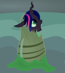 Size: 2128x2382 | Tagged: alternate universe, artist:badumsquish, cave, changeling, changeling egg, changelingified, changeling queen, cute, derpibooru exclusive, egg, fangs, female, filly, filly twilight sparkle, hatching, looking up, open mouth, profile, queen twilight, safe, slime, solo, species swap, twilight sparkle
