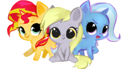 Size: 800x438 | Tagged: artist:millioncookies, chibi, cute, derpabetes, derpy hooves, diatrixes, female, filly, filly derpy, filly sunset, filly trixie, millioncookies is trying to murder us, pegasus, pony, safe, shimmerbetes, simple background, sunset shimmer, transparent background, trio, trixie, unicorn, younger