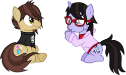 Size: 1752x1042 | Tagged: safe, artist:lightningbolt, derpibooru exclusive, earth pony, pony, unicorn, .svg available, brendon urie, casual, clothes, confused, duo, hoodie, hoof hold, male, microphone, panic! at the disco, ponified, puffy cheeks, ryan ross, shirt, shocked, simple background, sitting, stallion, svg, t-shirt, transparent background, vector