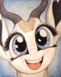 Size: 1040x1300 | Tagged: safe, artist:thefriendlyelephant, oc, oc only, oc:mmiri, antelope, springbok, animal in mlp form, big ears, big eyes, bust, close-up, cute, happy, horns, portrait, smiling, solo, traditional art
