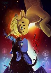 Size: 2800x4000   Tagged: safe, artist:das_leben, oc, oc only, oc:hairwhite, alicorn, bat pony, bat pony alicorn, pony, alicorn oc, curved horn, duo, female, flower, looking away, looking back, magic, male, mare, signature, stallion