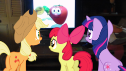Size: 1696x956 | Tagged: apple bloom, applejack, safe, television, twilight sparkle, veggietales, watching
