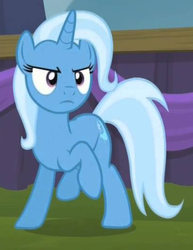 Size: 404x524 | Tagged: safe, screencap, trixie, pony, no second prances, cropped, female, mare, raised hoof, solo