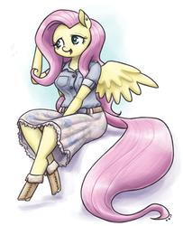 Size: 1280x1576 | Tagged: safe, artist:king-kakapo, fluttershy, anthro, pegasus, unguligrade anthro, belt, blouse, boots, clothes, cute, ear piercing, earring, female, jewelry, mare, piercing, sitting, skirt, solo