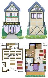 Size: 600x969 | Tagged: safe, artist:tambelon, building, floor plan, house, shop, watermark
