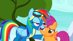 Size: 1280x720 | Tagged: clothes, edit, edited screencap, frown, newbie dash, rainbow dash, safe, scootaloo, screencap, spoiler:s06e07, uniform, wonderbolts uniform