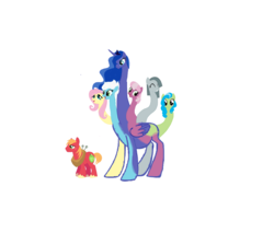 Size: 2763x2359 | Tagged: safe, artist:theunknowenone1, big macintosh, cheerilee, fleetfoot, fluttershy, marble pie, princess luna, tealove, earth pony, pony, big macintosh gets all the mares, cheerimac, conjoined, fleetmac, fluttermac, fusion, lunamac, male, marblemac, pregnant, shipping, six heads, stallion, straight, teamac, we have become one, you need me