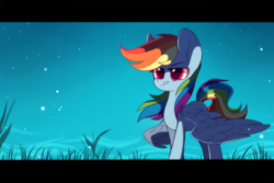 Size: 2449x1632 | Tagged: artist:mirta-riga, black bars, female, grass, mare, night, pegasus, rainbow dash, safe, solo, stars