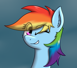 Size: 1141x1014 | Tagged: artist:zogzor, one eye closed, rainbow dash, safe, solo, wink