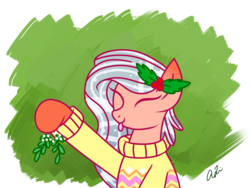 Size: 1400x1050 | Tagged: safe, artist:iheartjapan789, oc, oc only, oc:island tide, original species, pond pony, pony, eyes closed, female, holly, mare, mistletoe, solo, tongue out
