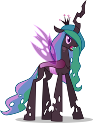 Size: 6800x9000 | Tagged: absurd res, alicorn, alternate universe, artist:limedazzle, changeling, changeling queen, colored pupils, fangs, female, fusion, hair over one eye, mare, multicolored hair, princess celestia, princess chryslestia, purple changeling, queen chrysalis, safe, simple background, solo, transparent background, vector
