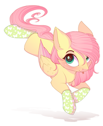 Size: 2455x3000 | Tagged: safe, artist:evehly, fluttershy, pegasus, pony, chest fluff, clothes, colored wings, cute, female, looking at you, mare, shyabetes, socks, solo, tongue out