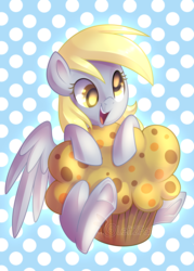 Size: 3000x4200 | Tagged: safe, artist:drawntildawn, derpy hooves, pegasus, pony, absurd resolution, cute, female, food, happy, muffin, open mouth, polka dots, smiling, solo, watermark