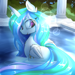 Size: 2400x2400   Tagged: safe, artist:madacon, princess celestia, alicorn, pony, bathing, chest fluff, color porn, colored pupils, column, crepuscular rays, cute, cutelestia, female, looking back, mare, solo, swimming pool, water, wet, wing fluff